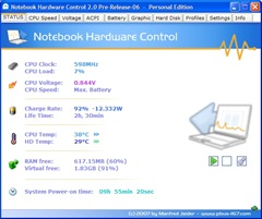 Notebook hardware control screenshot