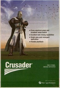 Crusader weed killer - features a Crusader knight