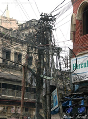 Congested overhead electricity cabling, in India