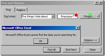 Excel find and replace not working.