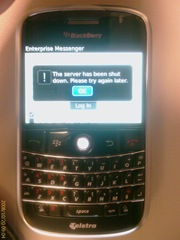 BlackBerry error message: The server has been shut down.  Please try again later.