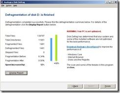 Auslogics Disk Defrag - Finished