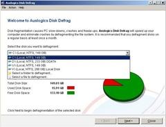 auslogics Disk Defrag - choose a drive.