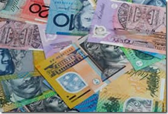 australian currency notes collage