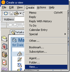 Lotus Notes Create View Menu Option