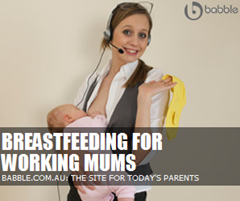babble.com.au - working mum holding baby ad