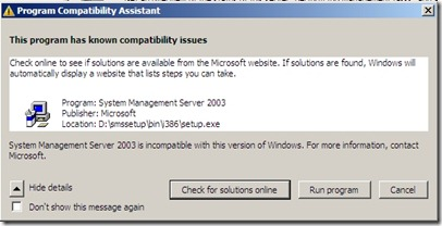 SMS 2003 server on Windows 2008 - No