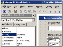 VBA Editor showing Masked Edit Boxes