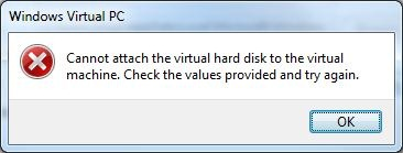 """How to fix the """"Cannot attach the virtual hard disk"""
