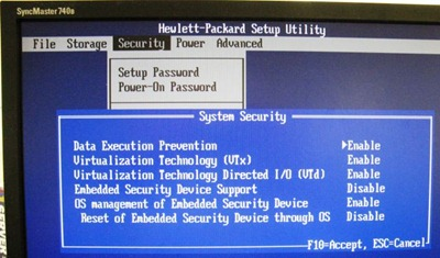 dc7800 virtualisation technology settings screen
