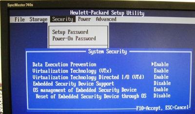 dc7800 virtualisation technology settings screen