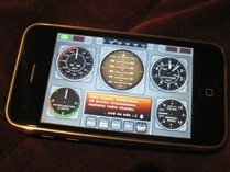 iPhone with v-Cockpit software running