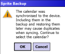 Sprite Backup - warning