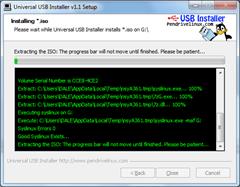 Universal USB Installer - Installing ISO