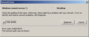 Network error - Windows cannot access \\...\...\Desktop - 0x80070035