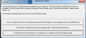 Truecrypt 7 has found no CD/DVD burner connected to your computer