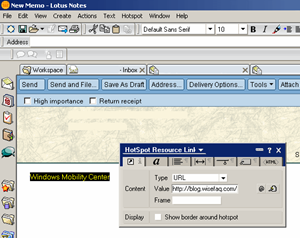 Creating a web link in Lotus Notes - Step 2