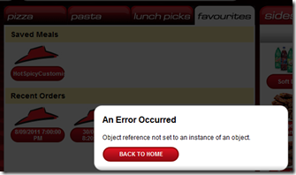 PizzaHut - Object not set to an instance of an object