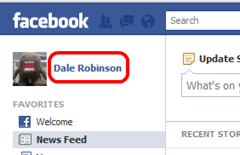 Step 1 - Click on your name to go to your facebook homepage