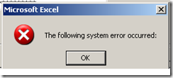 The following system error occurred