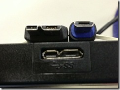 USB3 Micro B cable on the left.  Normal Micro B cable on the right.