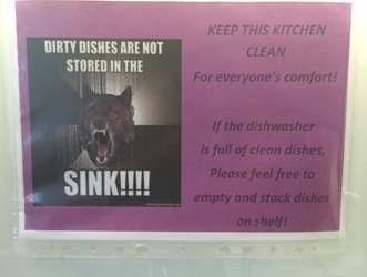 Dirty dishes are not stored in the sink