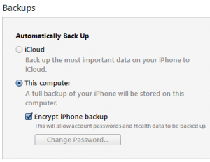 iTunes - encryption selected