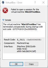 Result Code:  E_FAIL (0x80004005) Component:  MachineWrap Interface:  IMachine {85632c68-b5bb-4316-a900-5eb28d3413df}